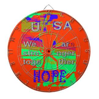 Bunte Hoffnung USA Hillary sind wir zusammen Dartscheibe