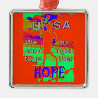 Bunte Hoffnung USA Hillary sind wir zusammen Silbernes Ornament