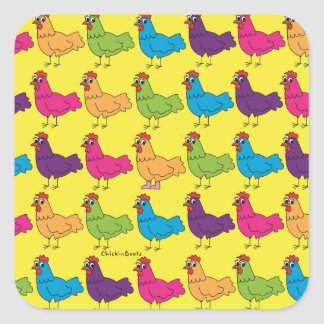 Bunte Huhn-Aufkleber Quadratischer Aufkleber