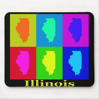 Bunte Illinois-Staats-Pop-Kunst-Karte Mousepads