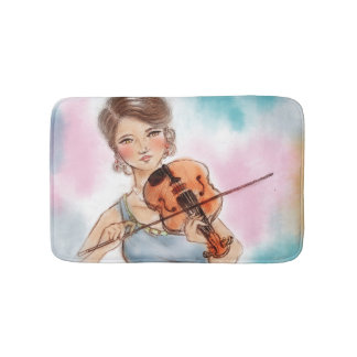 Bunte illustrierte Badmatte - Violine Badematte