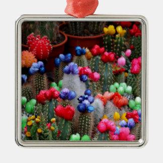Bunte Kakteen Quadratisches Silberfarbenes Ornament