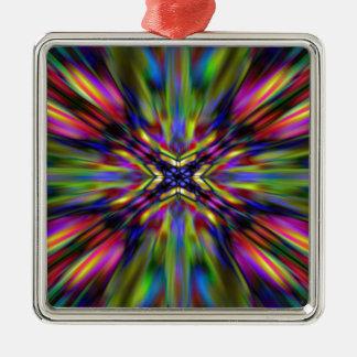 Bunte Kaleidoskop-Sternexplosion Silbernes Ornament