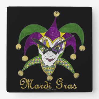 Bunte Karneval-Spaßvogel-Maske Quadratische Wanduhr