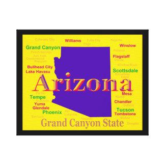 Bunte Karte Arizonas, Grand- CanyonStaat Leinwanddruck