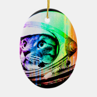 bunte Katzen - Katzenastronaut - sperren Katze Keramik Ornament