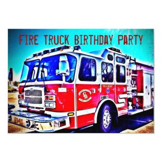 Bunte Kinderfeuer-LKW-Geburtstags-Party Einladung