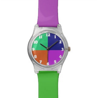 Bunte Kinderuhr in der lila grün-blauen Orange Armbanduhr