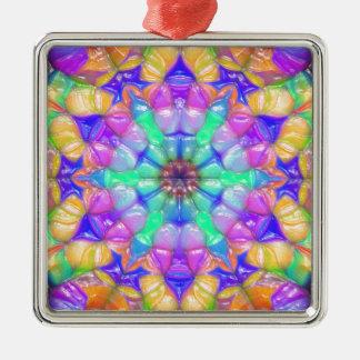 Bunte konzentrische Reflexionen Silbernes Ornament