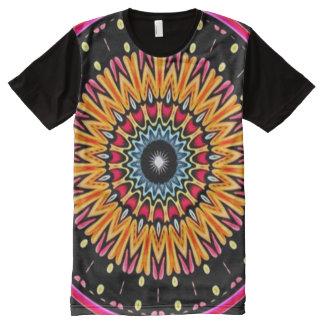 Bunte kosmische Verbindungs-Mandalaindie-Kunst T-Shirt Mit Komplett Bedruckbarer Vorderseite