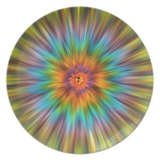 Bunte Krawatten-Sternexplosion Teller
