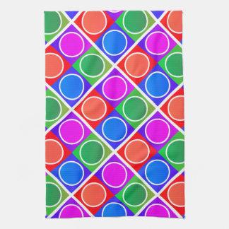 Bunte Kreise und Quadrat-Muster Handtuch