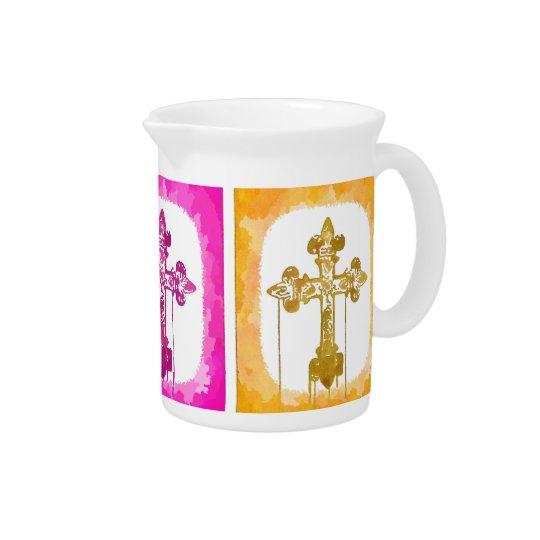 Bunte Kreuz-christliche Pop-Kunst Getränke Pitcher