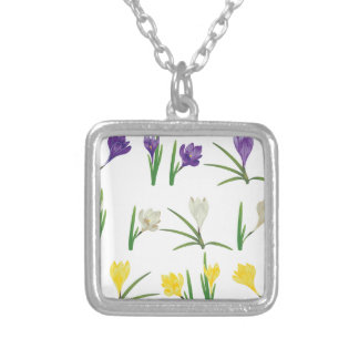 Bunte Krokus-Blumen Versilberte Kette