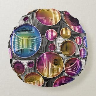 Bunte Kugeln - abstrakte Kunst Rundes Kissen