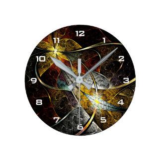 Bunte künstlerische Fraktal-Wand-Uhr Runde Wanduhr