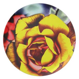 Bunte künstlerische gelbe Rose Melaminteller