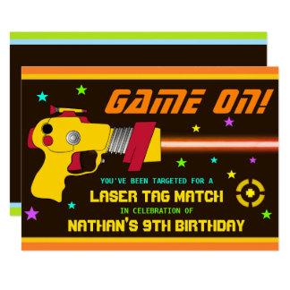 Bunte Laser-Umbau-Kindergeburtstag-Party Einladung