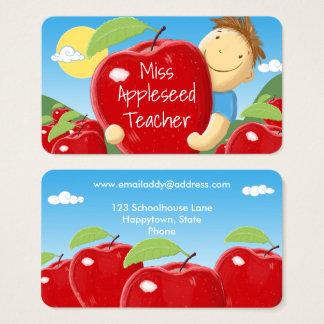 Bunte Lehrer-Visitenkarte-Schablone Visitenkarte