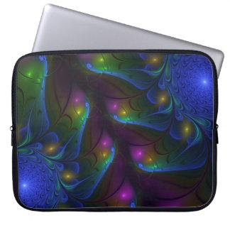 Bunte leuchtende abstrakte moderne Fraktal-Kunst Laptop Sleeve