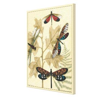 Bunte Libellen, die über Blätter schwimmen Leinwanddruck