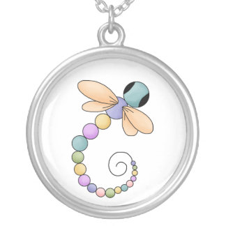 Bunte Libellen-Halskette Versilberte Kette
