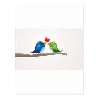 Bunte Liebevögel Postkarte