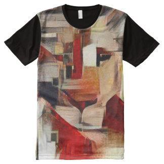 Bunte Löwe-Gouache-Beschaffenheits-abstrakte Kunst T-Shirt Mit Komplett Bedruckbarer Vorderseite
