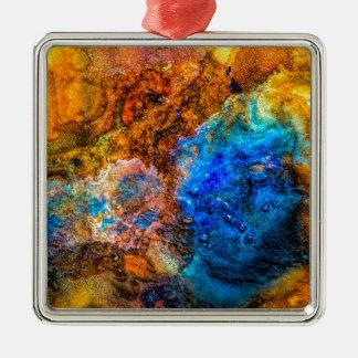 Bunte Malerei der abstrakten Quadratisches Silberfarbenes Ornament