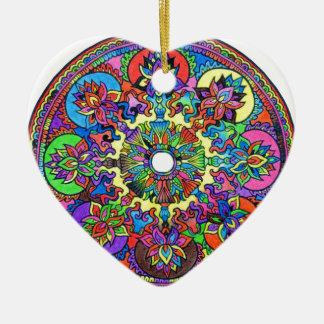 Bunte Mandala Keramik Herz-Ornament
