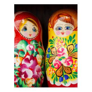 Bunte Matryoshka Puppen Postkarte