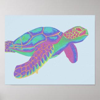 Bunte Meeresschildkröte Poster