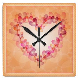 Bunte moderne romantische Herzen Quadratische Wanduhr