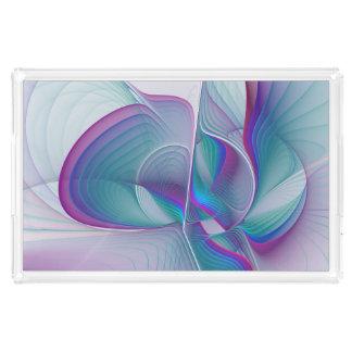 Bunte moderne rosa blaue Türkis-Fraktal-Kunst Acryl Tablett