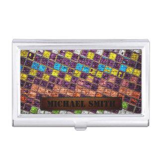 Bunte Mosaik-Leinwand-eleganter lederner Blick #4 Visitenkarten Dose