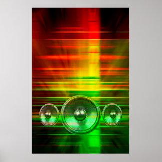 Bunte Musik-Lautsprecher Poster