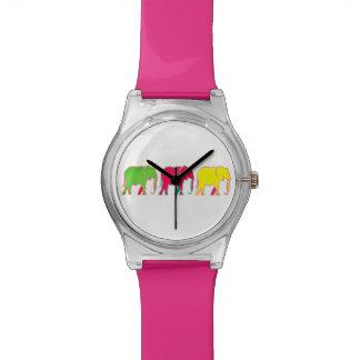 Bunte mutige Elefant-modisches rosa Girly Chic Uhr