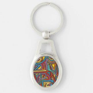 Bunte mutige geometrische abstrakte moderne Kunst Silberfarbener Oval Schlüsselanhänger
