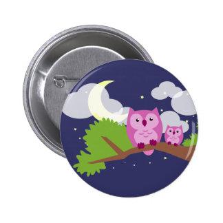 Bunte Nachteule Runder Button 5,7 Cm
