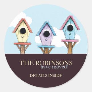 Bunte neue Adressen-Mitteilung der Birdhouses-| Runder Aufkleber