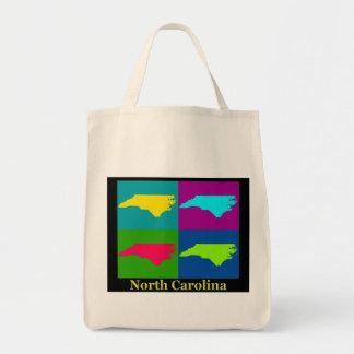 Bunte Nord-CarolinaPop-Kunst-Karte Tragetasche