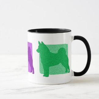 Bunte Norweger Elkhound Silhouetten Tasse