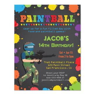 Bunte Paintball-Geburtstags-Party Einladungen