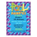 Bunte Pool-Party Einladungen
