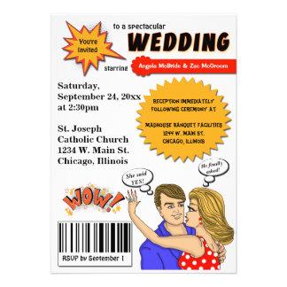 Bunte Pop-Kunst-Comic-Bucheinband-Hochzeit laden Ankündigungskarten