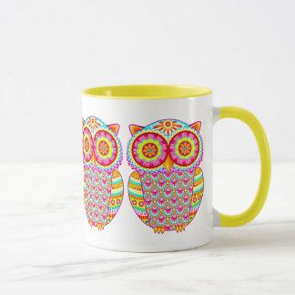 Bunte psychedelische Eulen-Tasse Tasse