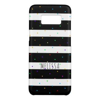 Bunte Punkte über den schwarzen u. weißen Streifen Case-Mate Samsung Galaxy S8 Hülle