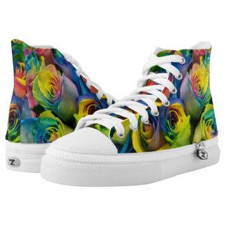 Bunte Regenbogen-Rosen drucken hohe Spitzenschuhe Hoch-geschnittene Sneaker