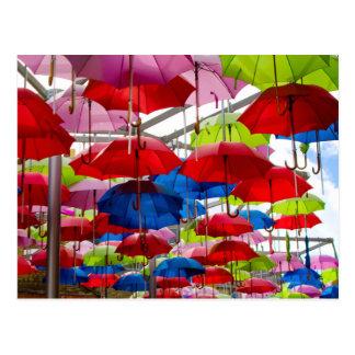 Bunte Regenschirm-Überdachung Postkarten