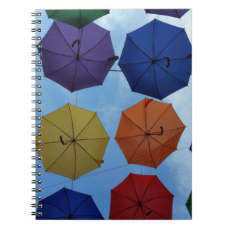 Bunte Regenschirme Spiral Notizblock
